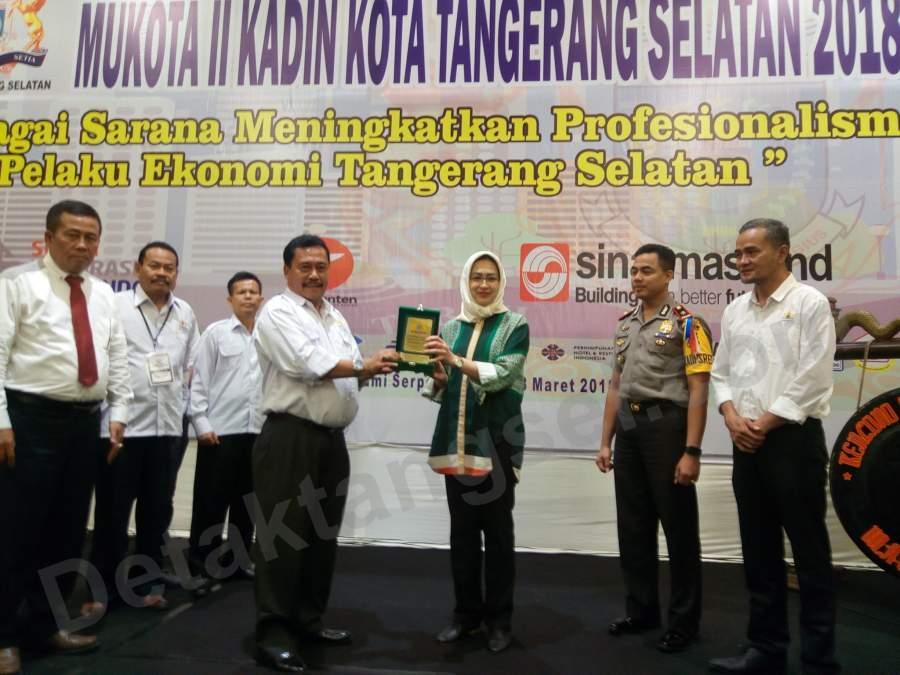 Walikota Airin Rachmi Diany usai sambutan pembukaan Mukota ll Kadin Tangsel.